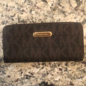 Michael Kors Brown MK Logo Wallet Zipper Enclosure